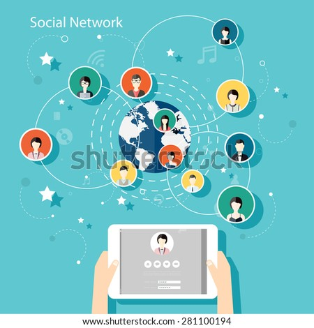 Social Network Vector Concept. Flat Design Illustration for Web Sites Infographic Design with human hand with tablet avatars. Communication Systems and Technologies. - stock vector