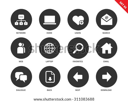 Social network vector icons set. Internet and communication concept. Web pages items, search, user, laptop, email, dialogue and options for navigation. Isolated on white background - stock vector