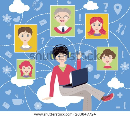 social network (vector illustration, flat concept) - stock vector