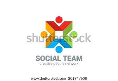 Social network vector logo design template. Internet outernet teamwork symbol.  Team, friendship, partnership, society creative web concept sign icon. - stock vector