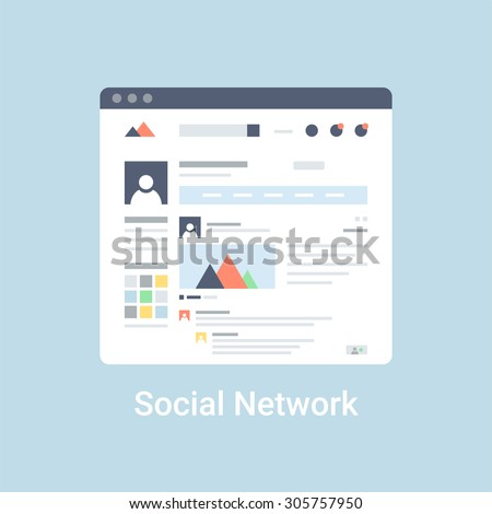 Social network website wireframe interface template. Flat vector illustration on blue background - stock vector