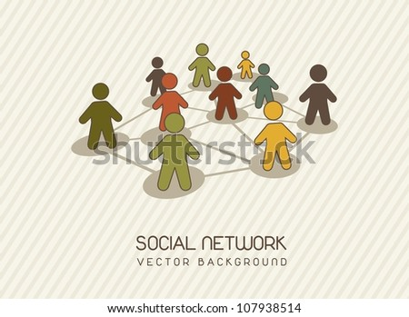 social network with men icons, vintage. vector illustration - stock vector