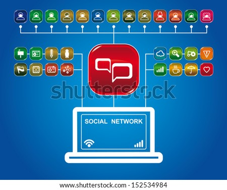 social network with set of app icons - stock vector
