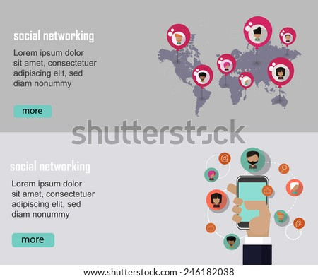 Social networking business vector concept banner set in flat style - stock vector