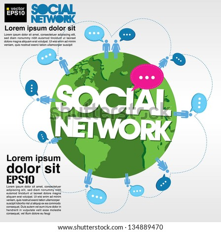 Social networking conceptual illustration vector.EPS10 - stock vector