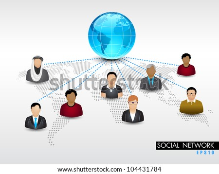 Social networking 3D background with globe and peoples connect with network on world map background. EPS 10. Social networking and social media concept. - stock vector