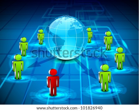 Social networking 3D background with people connect with globe by network on blue abstract background. EPS 10. 3D social media concept. - stock vector