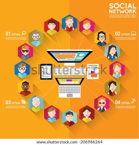 Social Networking People Conceptual Vector Design  - stock vector