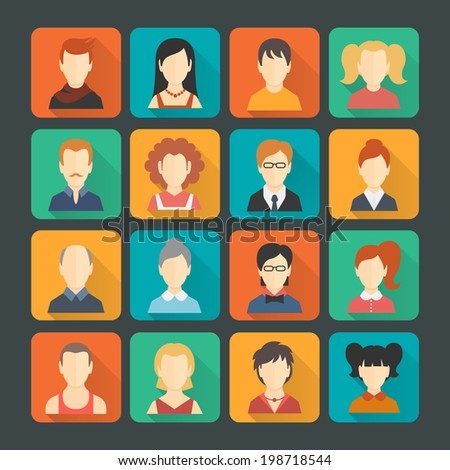 Social networks business private users avatar pictograms solid colors design icons set isolated flat shaded vector illustration - stock vector