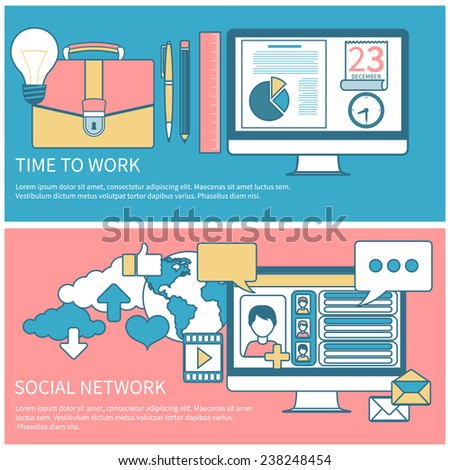Social networks. Cloud of application icons. Set for web and mobile applications of social media. Business concept in flat design for time to work and work process - stock vector