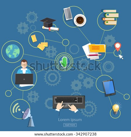 Social networks distance learning webinars and consultations on the internet - stock vector
