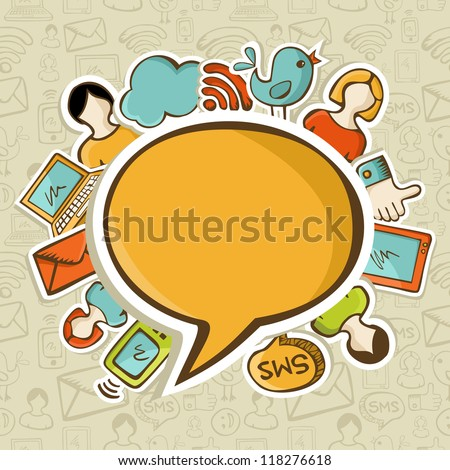 Social networks icons around the speech bubble over seamless pattern. Vector illustration layered for easy manipulation and custom coloring. - stock vector