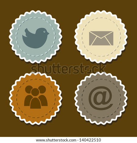social networks icons over brown background vector illustration - stock vector