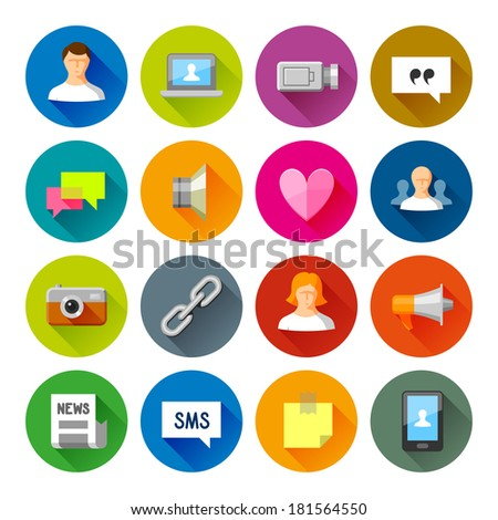 Social Networks icons. Professional vector flat and long shadow icons for your website, application and presentation. - stock vector