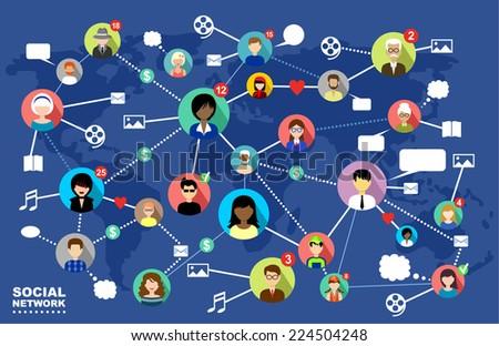Social Networks. Internet communication. vector - stock vector