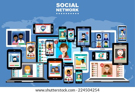 Social Networks. Internet communication. vector - stock vector