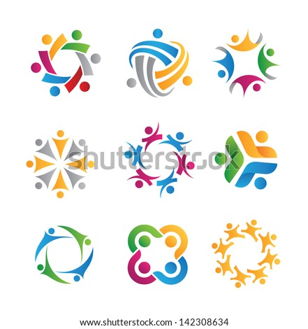 Social relationship logo and icon - stock vector