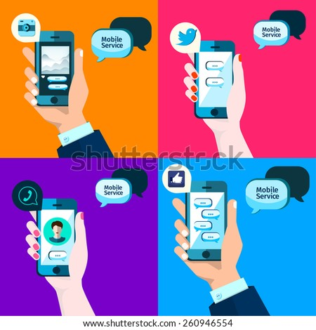 Social service, mobile media in flat style,, apps icon. Bubble speech  iPhone illustration, - stock vector