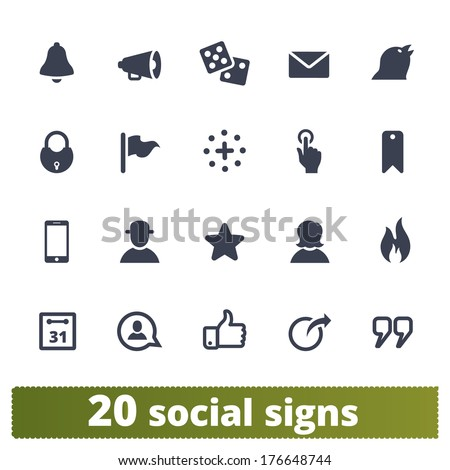 Social signs: vector icons set for network, community sites, application, user interface - stock vector
