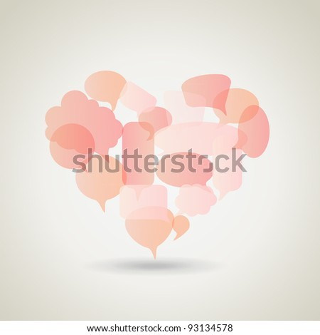 Social speech bubbles in different colors and forms in heart shape illustration. EPS 10 - stock vector