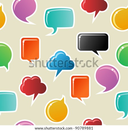 Social speech bubbles in different colors and forms seamless pattern illustration background. Vector file available.