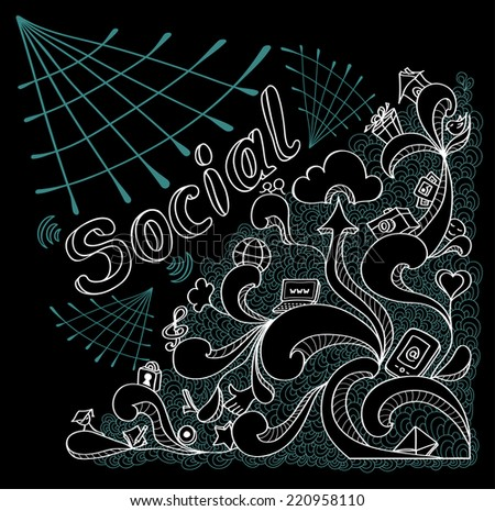 Social webs in doodle style on black background for website banners and other things