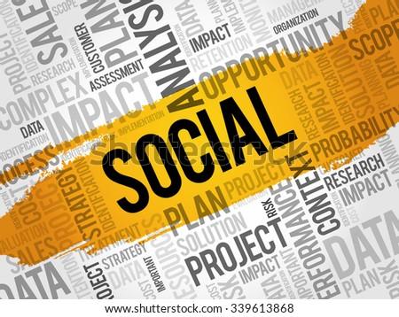 Social word cloud, business concept - stock vector