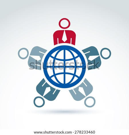 Society and business tem taking care about the world, global peace wealth and ecology theme icon, vector conceptual stylish symbol for your design. - stock vector