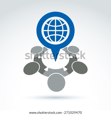 Society and organizations taking care about the world, global peace wealth and ecology theme icon, vector conceptual stylish symbol for your design. - stock vector