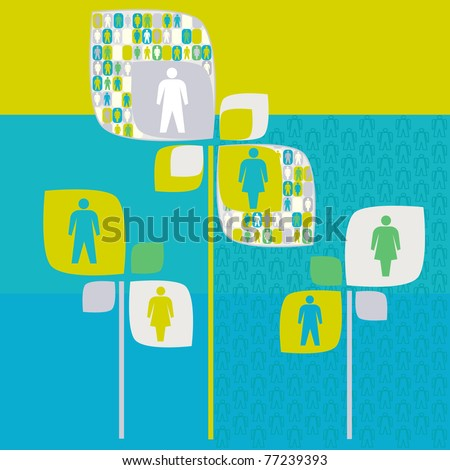 sociology human tree with people pictogram - stock vector