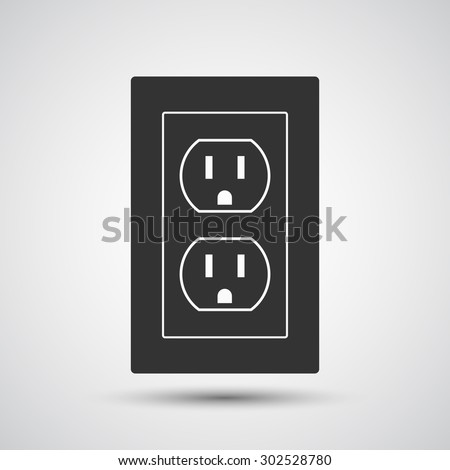 Socket, Electric outlet icon - Vector - stock vector