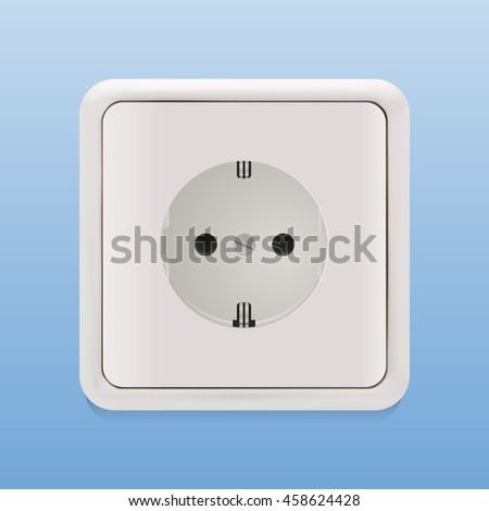 Socket isolated on blue. Photo-realistic vector illustration.