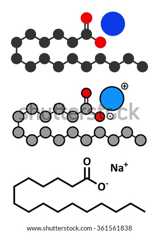 Sodium palmitate soap molecule. Prepared from palm oil by saponification. Stylized 2D renderings and conventional skeletal formula.  - stock vector