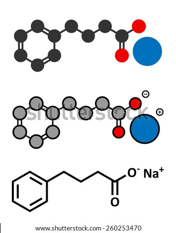 Sodium phenylbutyrate urea cycle disorders drug molecule. Also acts as histone acetylase (HDAc) inhibitor and chemical chaperone. Stylized 2D renderings and conventional skeletal formula.  - stock vector