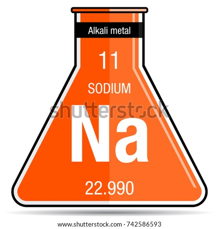 sodium symbol on chemical flask element stock vector royalty free