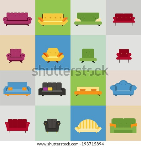 sofa and armchair icons, vector eps10 illustration - stock vector