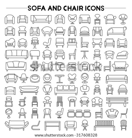 sofa and chair icons set - stock vector