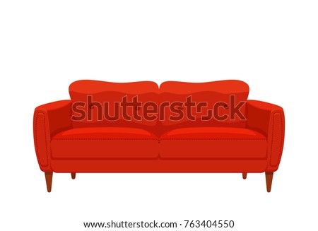 sofa couch red colorful cartoon illustration stock vector 763404550