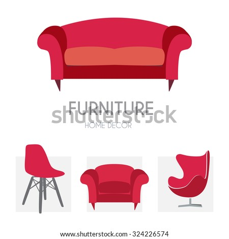 Sofa Business sign set vector template for furniture store, home decor boutique, furniture design. Couch silhouette icon. Corporate web site element. Layered editable design - stock vector