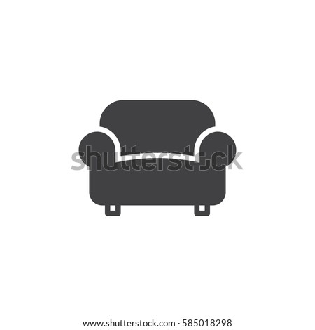 Sofa, Couch Icon Vector, Filled Flat Sign, Solid Pictogram Isolated On  White.