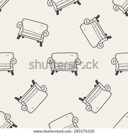 sofa doodle seamless pattern background - stock vector