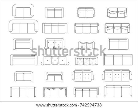 Sofa Top View Plan