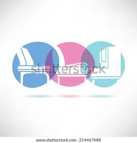 sofa furniture button, interior design concept - stock vector