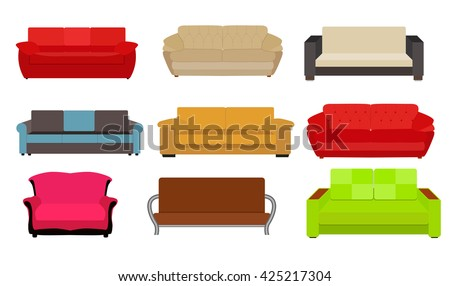 Sofa Icon Set Vector Illustration Eps10 - stock vector