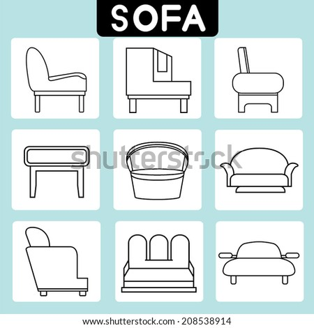 sofa icons set minimal theme - stock vector