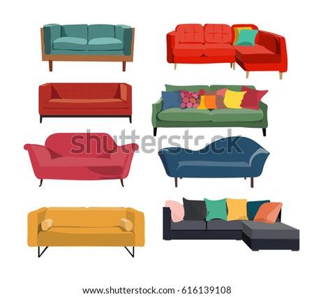 Sofa Interior Design Collectioncolorful Realistic Looking Elementsdanishmodern Retro