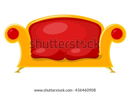 Sofa on a white background. Bright vector illustration Cartoon sofa.  - stock vector