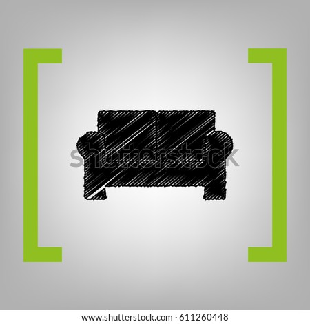 Sofa sign illustration. Vector. Black scribble icon in citron brackets on grayish background.