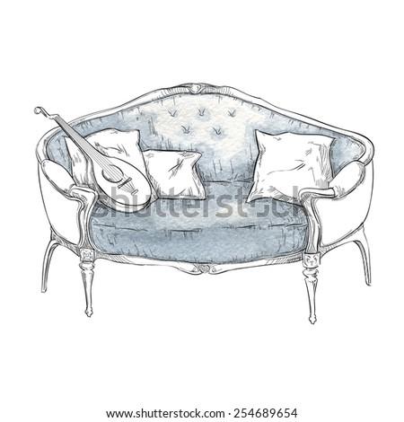 Sofa sketch - stock vector