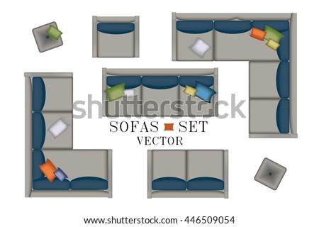 Luxury top view sofa set